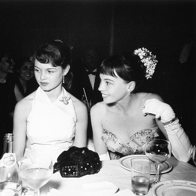 Brigitte Bardot and Leslie Caron in Cannes, 1953